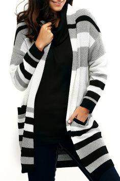 $20.53 Pocket Design Striped Loose-Fitting Cardigan