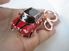 rose gold,mini car keychain,Chili Red car,black car roof and stripes,plus grade crystal,luxury ,exclusive gifts, for you or your loved one. on Wanelo