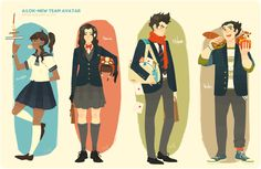 New team Avatar school style part2 by ~freestarisis on deviantART