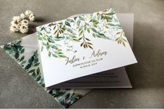 Biało - zielone zaproszenia ślubne z konwalią i złoconymi gałązkami w stylu glamour Amelia Wedding, Wedding Trends, Invitations, Invitation