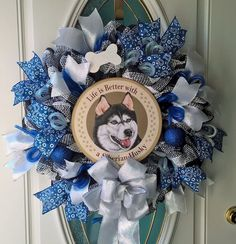 Siberian Husky Mesh Wreath Dog Door Decor Pet Wreath Handmade by MeshWreathsnMore on Etsy