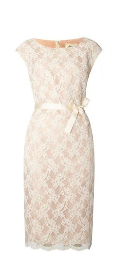 Perfect classy rehearsal dinner dress - Ivory House of Fraser   Linea Lace Shift Dress - love the ribbon bow tied at the front