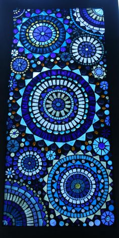 Beautiful Blue Circles Mosaic Window Panel by lowlightcreations