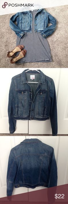 Blue jean jacket Blue jean jacket with pink stitching on collar. It has only been worn a few times and is in good condition. Size: L. Comment with any questions! BONGO Jackets & Coats Jean Jackets