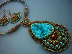 Necklace and earrings with chrysocolla and malachite - Necklace Bead Embroidery Art, via Etsy.