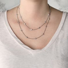 There's no stopping our most versatile necklace ever! A 36 inch chain is studded with twenty-six carat Round Brilliant cut Nexus Diamond™ alternatives, each one enclosed in a smooth beze Lady In My Life, Diamond Alternatives, Diamond Simulant, Night Wear, Double Trouble, Lab Created Diamonds, Layered Look, Types Of Metal, Sporty