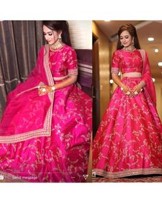 pink soft tapeta silk embroidered wedding lehenga - Fabric :Soft Tapeta silk lehnga with embroidery work all over & real Mirror work border( waist 44 '' ) soft tapeta silk embroidered wedding lehenga - Fabric :Soft Tapeta silk lehnga with embr Party Wear Indian Dresses, Indian Gowns Dresses, Indian Bridal Outfits, Party Wear Lehenga, Indian Fashion Dresses, Dress Indian Style, Wedding Dresses For Girls, Indian Designer Outfits, Bridal Dresses