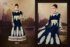 Very Classy and Rich Dark Blue Floor Length Semi-stitched Velvet Anarkali Dress with Heavy Hand and Machine Work. Comes along with Santoon Bottom and Inner and Chiffon Dupatta.