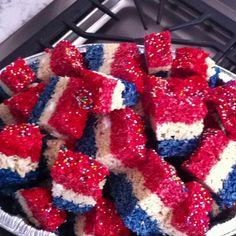 of July rice crispy treats. when the marshmallows were melted I added in the color and layered them. I used Wilton Dab-N-Color. Easy July 4th Desserts, Fourth Of July Food, 4th Of July Celebration, 4th Of July Party, Holiday Desserts, Holiday Treats, Holiday Recipes, Patriotic Party, Fun Recipes