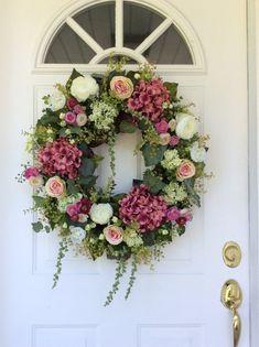 Summer Wreath-Hydrangea Wreath-Summer Door by ReginasGarden