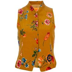 Kenzo Vintage Floral Print Waistcoat (35 KWD) ❤ liked on Polyvore featuring tops, vests, blouses, shirts and kenzo