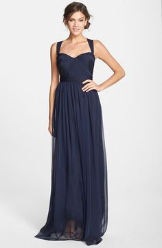 Free shipping and returns on ML Monique Lhuillier Bridesmaids Shirred Chiffon Gown at Nordstrom.com. Meticulous shirring adds soft dimension to the sculpted sweetheart neckline and fitted bodice of this ethereal gown. Cross-back straps and a flowing, floor-sweeping skirt further the romantic look.