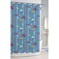 @Overstock - Whether your little one dreams of being a race car driver or is just fascinated by vehicles, he'll love this colorful printed shower curtain. Its blue background has an all-over design of cars and raceways that's so cute, he may even enjoy bath time.http://www.overstock.com/Bedding-Bath/Race-Car-Printed-Shower-Curtain/6783491/product.html?CID=214117 $28.49