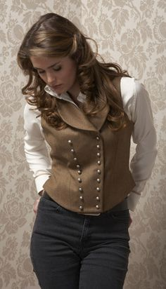 LOVE the vest and her hair and everything this is the cutest vintage outfit.