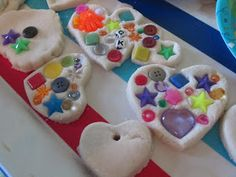 What's Fun Today?: Eye Spy Salt Dough Hearts day ideas for church Salt Dough Projects, Salt Dough Crafts, Clay Projects, School Holiday Crafts, Christmas Crafts, Homemade Christmas, Christmas Tree, Christmas Ornaments, Vbs Crafts