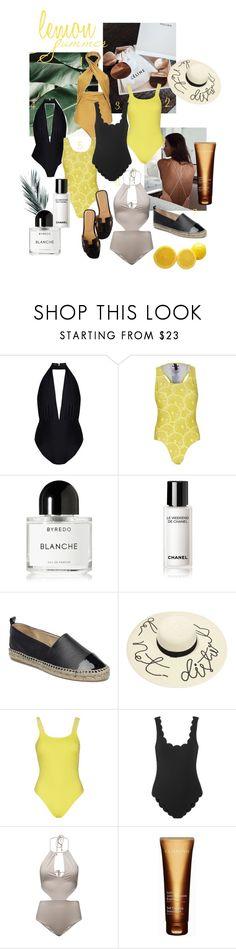 """lkn m"" by karolinyouknow on Polyvore featuring Byredo, Chanel, Hermès, Marysia Swim and Clarins"