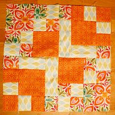 """What a fun block! Mayve I'll use this design for the big flannel blanket I'm making over """"Christmas break"""" but instead of a quilt made up of all of these little blocks, the quilt will be just one of these blocks but super big. Yes, I think so. :) PS- @Kate Spain 's tutorial for the block can be found here, http://www.unitednotions.com/LA_KS_BLOCK.pdf ."""