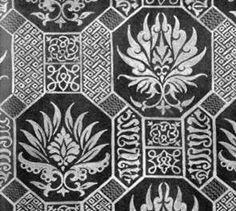 Pattern drawing of lost fragment of silk fabric maybe of trimming of burial vestment (maybe dalmatic of king).  Royal crypt of Prague castle. Production: Italy, 14.c. By: Gollerova-Placha (1937)