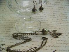 449 Bronze Oak Leaf and Olive Green Pearl by CreatedinTheWoods, $29.95