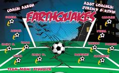 Earthquakes B53237  digitally printed vinyl soccer sports team banner. Made in the USA and shipped fast by BannersUSA.  You can easily create a similar banner using our Live Designer where you can manipulate ALL of the elements of ANY template.  You can change colors, add/change/remove text and graphics and resize the elements of your design, making it completely your own creation.