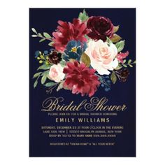 Burgundy Red Navy Floral Rustic Boho Bridal Shower Card - floral style flower flowers stylish diy personalize