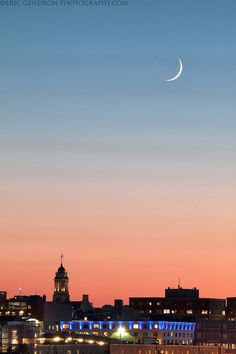Crescent Moon Over Portland, as viewed from South Portland, Maine.  (Photo Credit: Eric Gendron Photography)
