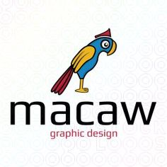 Macaw is an abstract logo in the shape of a macaw. (Macaw, bird, colorful, crown, fly, printing, graphic design, design, mascot, pet, animal, zoo).