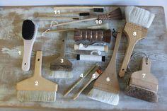 Japanese bookbinding brushes