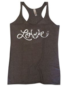 """Love to Hunt"" deer antler tank top! Perfect for female hunters :) #SKOutdoors skoutdoors.com"