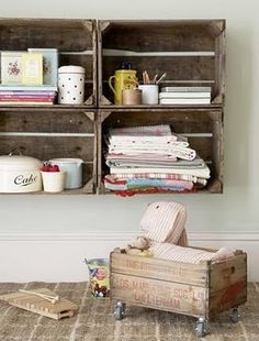 organization with old wine crates - I have about 5/6 wine crates laying around this could be a possibility for my room