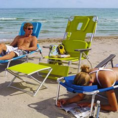 Face down beach lounger...Love this...you can read your book in shade, your arms don't get the circulation cut off from hanging over the side rim, and your elbows don't get tired from using them as a rest.  I want one of these!