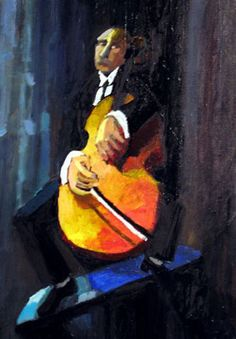 Tónleikari í Hagagjógv - Painting by Frits Johannesen
