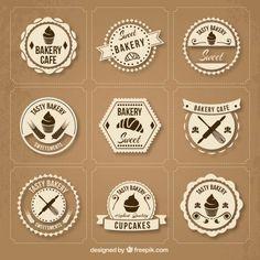 coleção crachá retro padaria Bakery Branding, Bakery Packaging, Packaging Design, Branding Design, Cake Logo Design, Bakery Design, Sweet Cafe, Baking Logo, Cafe Logo