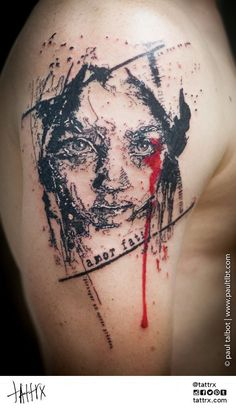 356b01577 Pretty black and red abstract tattoo style of Child Face done by artist Paul  Talbot