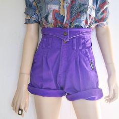 vintage 80s 90s high waist PURPLE shorts