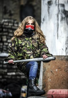 Ukrainian woman guards the barricades in Kyiv. 23-2-2014