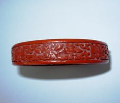 Antique Hand Carved Cinnabar Bangle Bracelet China   QuiltTops - Jewelry on ArtFire