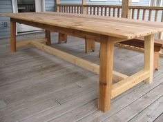 Cedar dining table, rustic and formal.