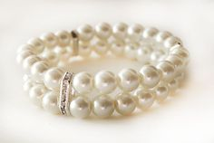 Bridesmaid pearl bracelet two strand bridal by MareWeddingJewelry