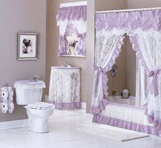 The Contemporary Shower Curtain Will Give You A New Modern Shower Curtain Look And Feel - Life ideas Shower Curtain With Valance, Modern Shower Curtains, Bathroom Crafts, Bathroom Sets, Rideaux Design, Romantic Bathrooms, Diy Home Cleaning, Contemporary Shower, Purple Home