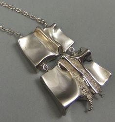 Stigbert (SE), vintage modernist sterling silver oversized pendant, 1974. #sweden   finlandjewelry.com #forsale
