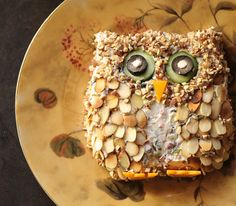 A cheese ball with a new look, this one is shaped into an owl.  It makes a fun and delicious Fall treat.