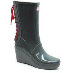 "Hunter ""Verbier"" Grey Wedge Rubber Boots"