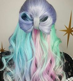 Sweet and sassy #mermaidhair will cure those winter blues! : @hairbymisskellyo #loveitliveitownit#behindthechair #beautyandpinups #rainbowhair #pastelhair #hairstyles