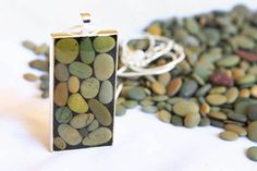 Pretty Pebble Pendant  Silver and Natural Beach by prettygoodnz, $79.50