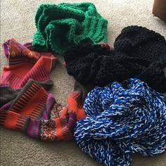 Scarf bundle⭐️1day sale⭐️ Four scarfs some hand knitted Accessories Scarves & Wraps