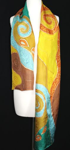 Hand Painted Silk Scarf. Terracotta Brown by SilkScarvesColorado