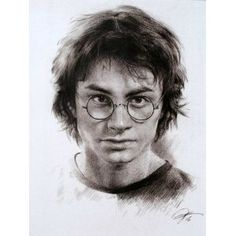 Harry Potter Paintings | Daniel Radcliffe in Harry Potter Drawings Sketch Portrait, Charcoal ...