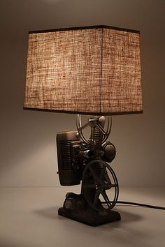 Beautifully detailed re-purposed celluloid lamp.  Made from an actual 1930's film projector.