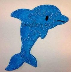 Dolphin Felt Puzzle - Counting, Sorting, Problem Solving, Fine Motor, and Gross Motor, GREEN TOY - sea creatures - ocean